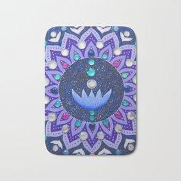 Lotus and Moon Phases Jewelled Mandala Bath Mat