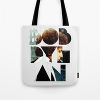 woodstock Tote Bags featuring Bob Dylan Font Colour by Fligo
