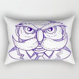 Angry Owl Man Mustache Doodle Rectangular Pillow