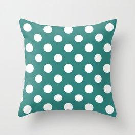Celadon green - green - White Polka Dots - Pois Pattern Throw Pillow