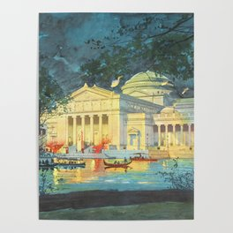 Lagoon at Night; Palace of Fine Arts in Chicago 1893 Poster