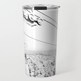 Chairlift // Mountain Ascent Black and White City Photograph Travel Mug