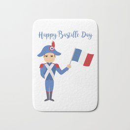 Soldier holding the French flag - Bastille Day Bath Mat