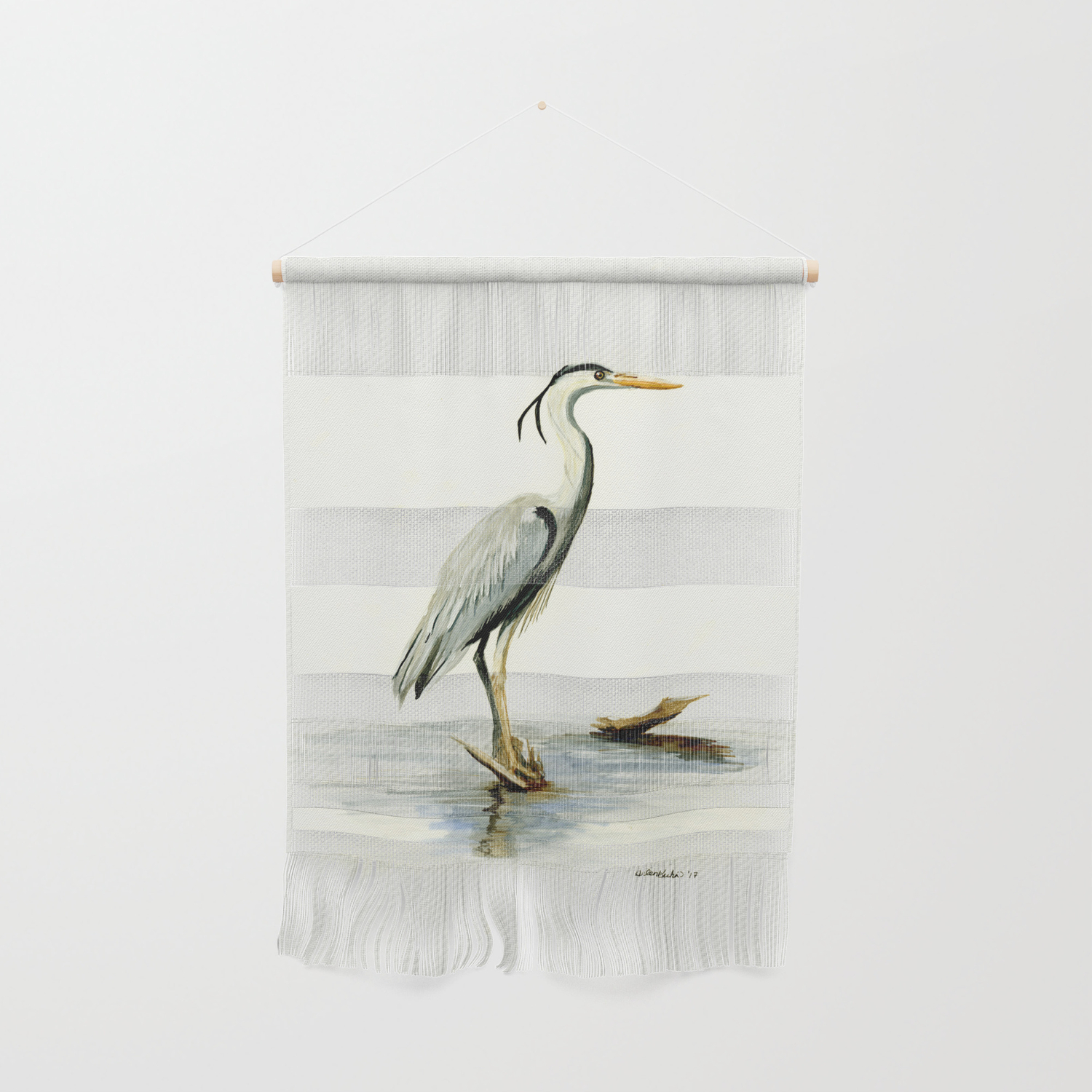 Blue Heron Watercolor Bird Home Decor Nursery Wall Art Hanging By Drawinginspiration