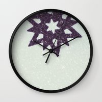 snowflake Wall Clocks featuring snowflake by Beverly LeFevre
