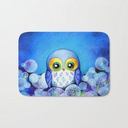 Lunar Owl in Dandelion Field Bath Mat