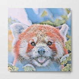 Watercolors-Red Panda Metal Print