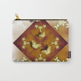 Gold butterflies and flowers on copper mandala Carry-All Pouch