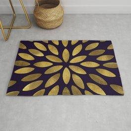 Classic Golden Flower Leaves Pattern Rug
