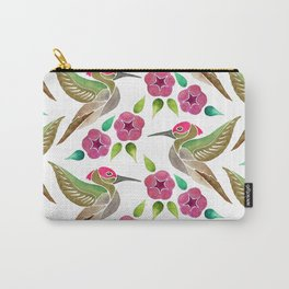 Hummingbird and Petunia Abstract Painting Carry-All Pouch