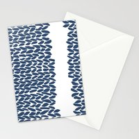 Missing Knit Navy on White Stationery Cards