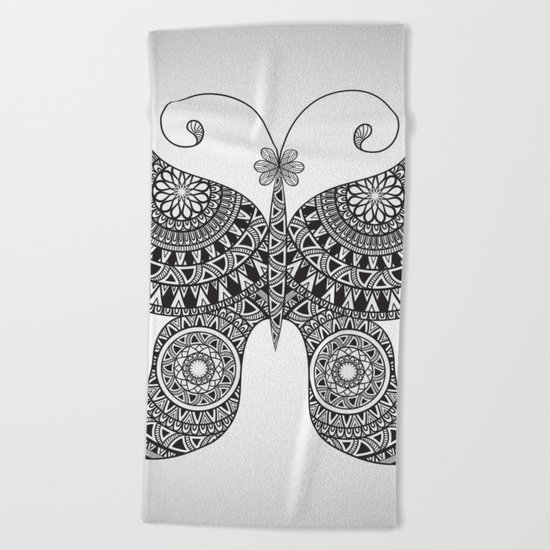 Drawn Butterfly Beach Towel