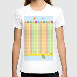 Beach cabins pattern stripes T-shirt