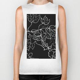 White ink, graphic, black cardboard, nature drawing maple leaves Biker Tank