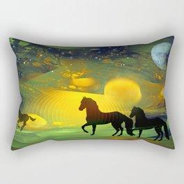 Awakening, Mysterious mixed media art with horses Rectangular Pillow