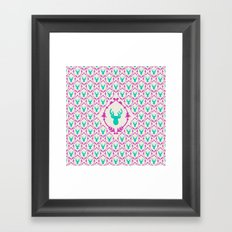 Oh Deer (teal) Framed Art Print