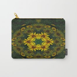 Large Yellow Wildflower Kaleidoscope Art 10 Carry-All Pouch