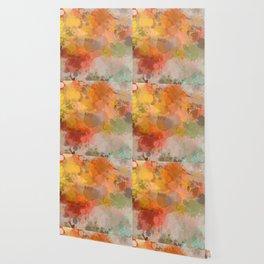 Modern contemporary Yellow Orange Abstract Wallpaper