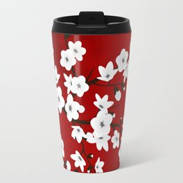 Red Black And White Cherry Blossoms Travel Mug