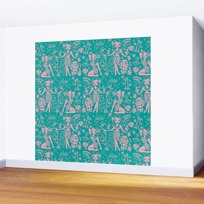 Tiki Temptress in Pink and Turquoise Wall Mural