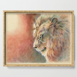 African Lion Colored Pencil Drawing Serving Tray