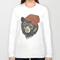 uk Long Sleeve T-shirts featuring zissou the bear by Laura Graves