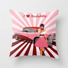 I love Rockabilly Throw Pillow