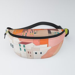 italy coast houses minimal abstract painting Fanny Pack