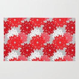Modern Floral Kimono Print, Coral Red and Gray Rug