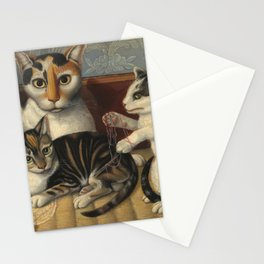 American 19th Century Cat and Kittens Oil Painting 1872 Stationery Cards