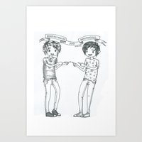 danisnotonfire Art Prints featuring Dan and Phil 2 by Sanni Salmela