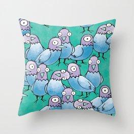 Pigeon Crowd Throw Pillow