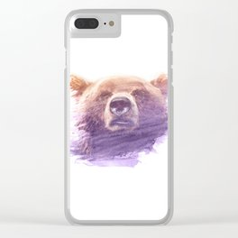 BEAR SUPERIMPOSED WATERCOLOR Clear iPhone Case