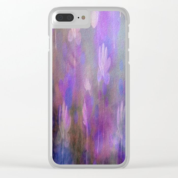 Painterly Dancing Violets Abstract Clear iPhone Case