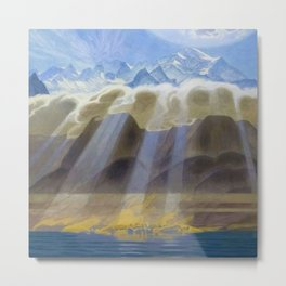 Sun Over Southern Mountains and Sea landscape by Jens Ferdinand Willumsen Metal Print