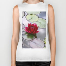 Dark Red Water Lily Biker Tank