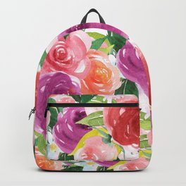 Hand painted pink purple watercolor roses floral Backpack