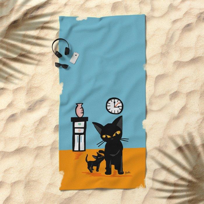 With a little boy Beach Towel