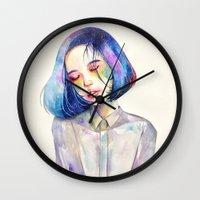 meditation Wall Clocks featuring Meditation by Kazel