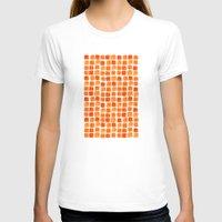 orange pattern T-shirts featuring Orange Squares Pattern. by Elena O'Neill