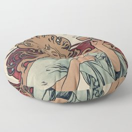 Alphonse Mucha - Champagne Ruinart (Father and Son) (1896) Floor Pillow