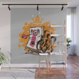 Cartoon Audio Cassette Tape on Gray Background Wall Mural