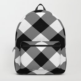 Gingham Plaid Black & White Backpack