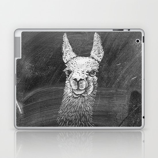 Black White Vintage Funny Llama Animal Art Drawing Laptop & iPad Skin