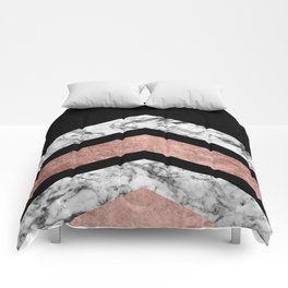 Modern rose gold black white geometric marble Comforters