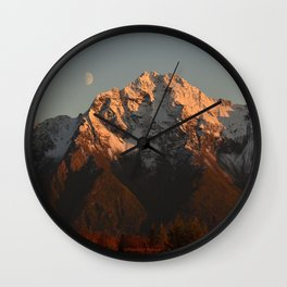 Moon Over Pioneer Peak Wall Clock
