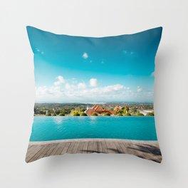smimming pool in paradise Throw Pillow