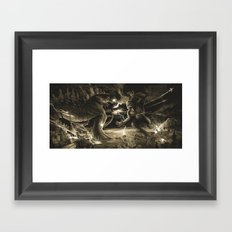 Godzilla vs Kingkong tan Framed Art Print