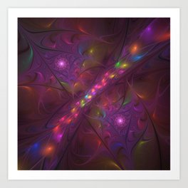 Colorful And Luminous Fractal Art Art Print