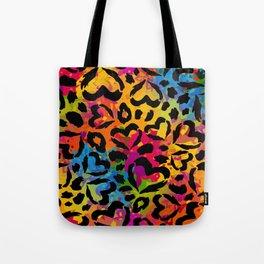 Vector Rainbow Camo with Black Hearts Tote Bag